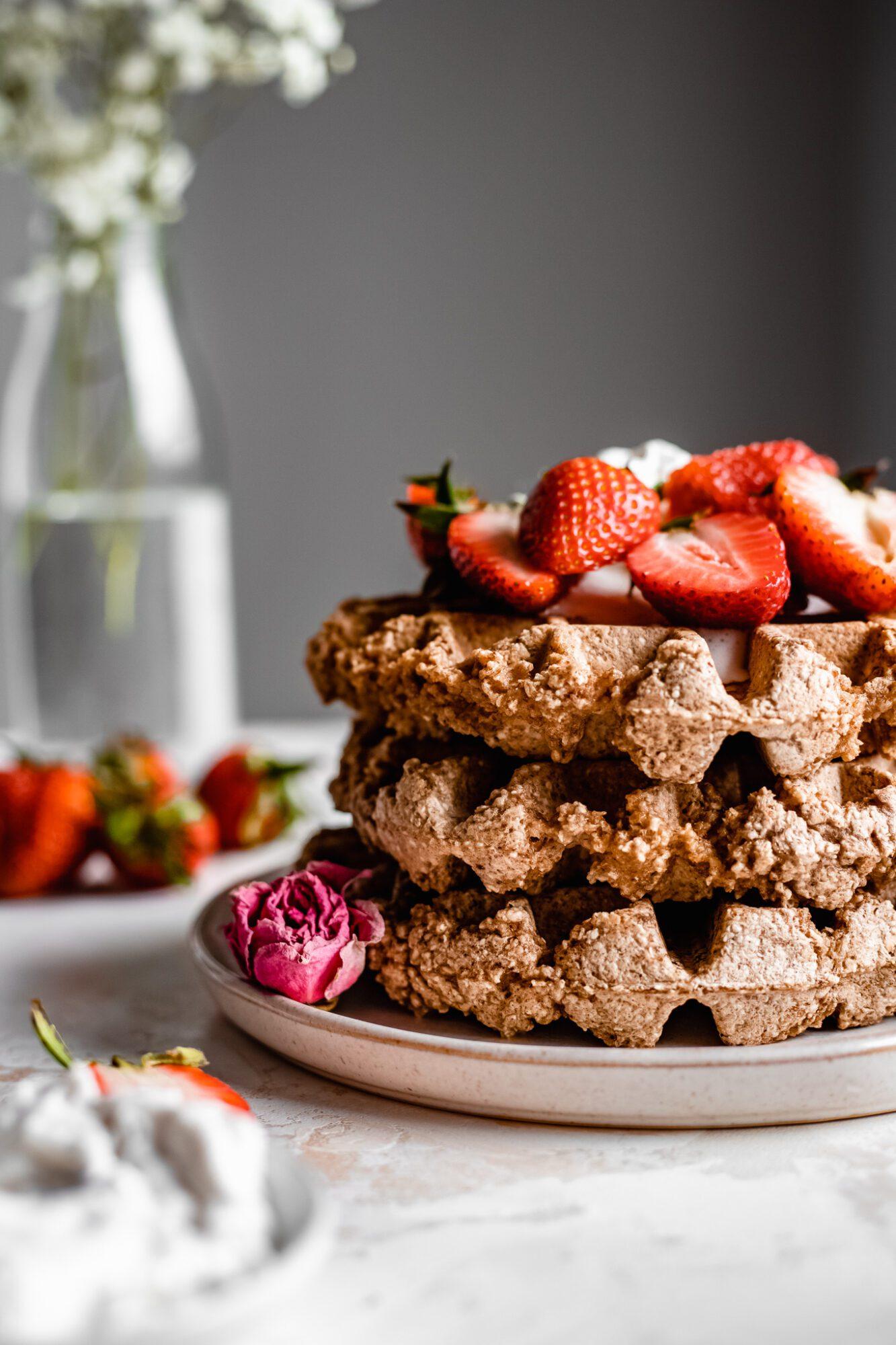 stack of vegan waffles