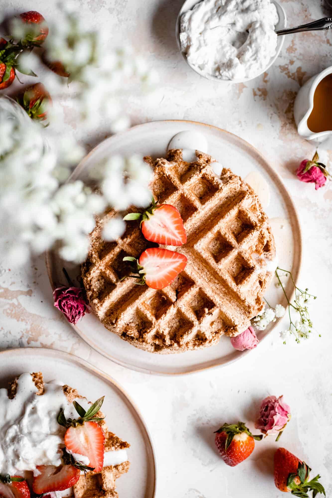 plates of oat flour waffles