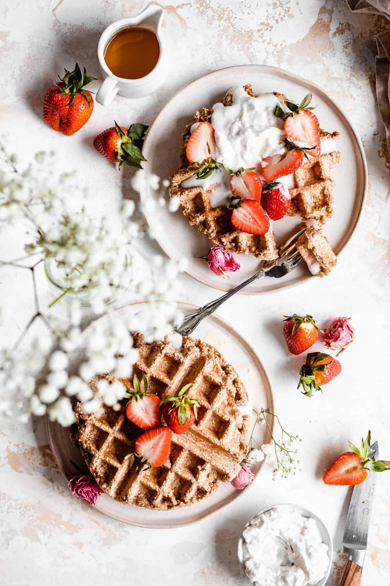 plates of vegan belong waffles