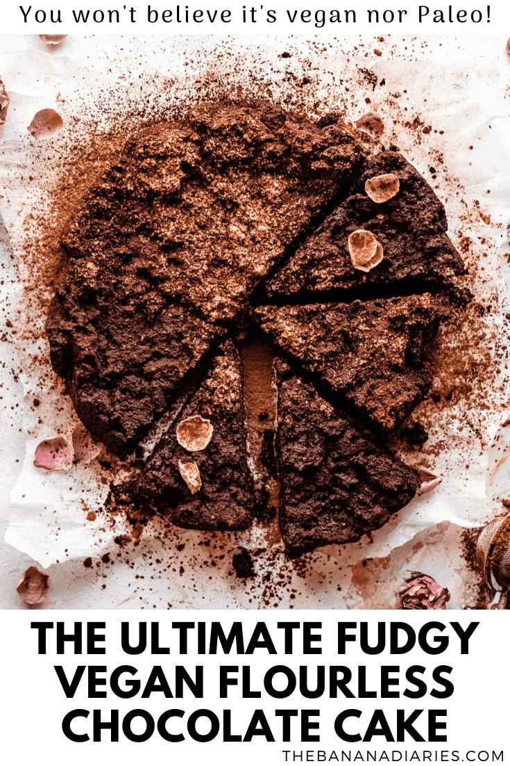 pinterest image for vegan flourless chocolate cake