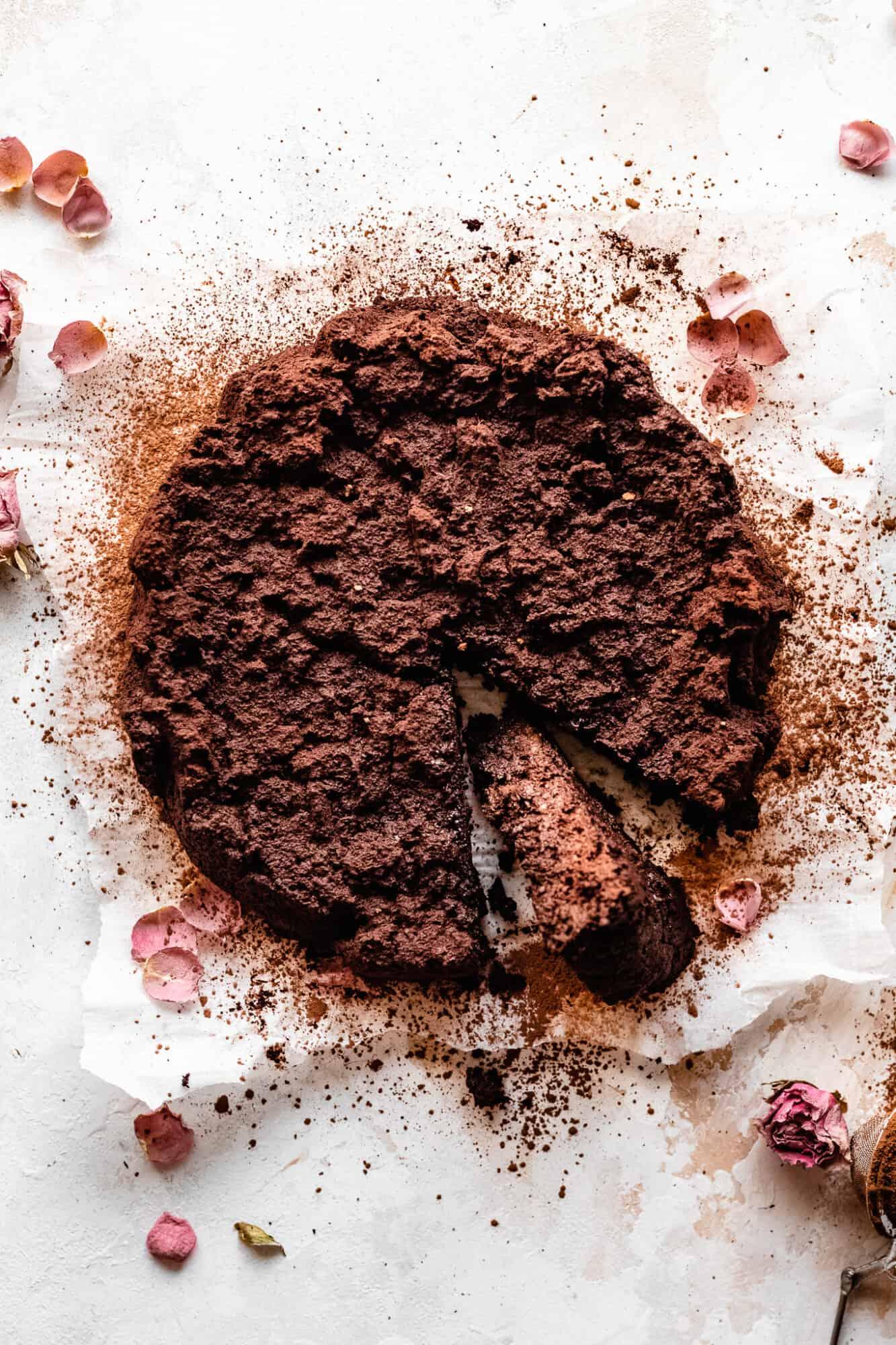 sliced flourless chocolate cake