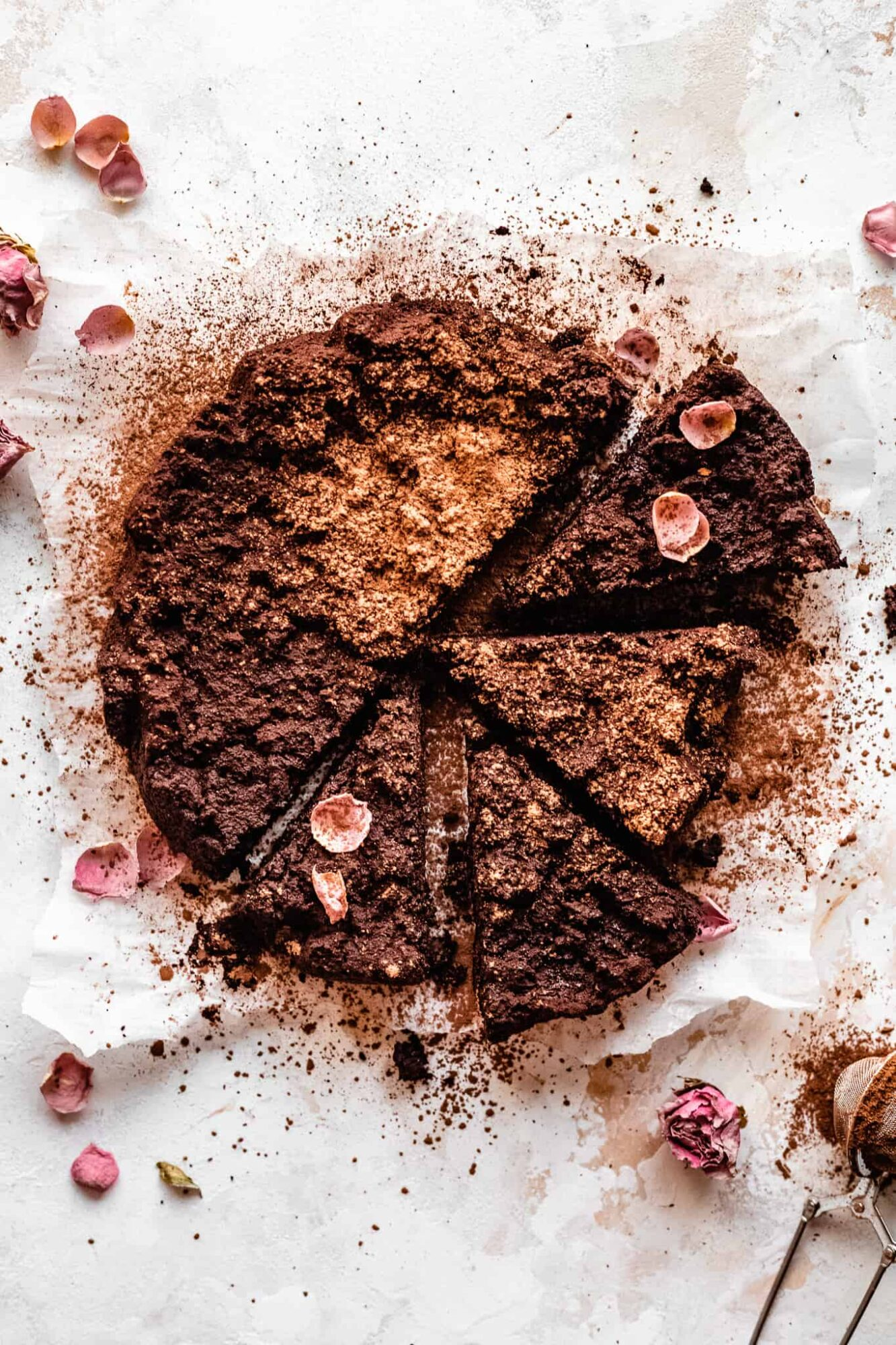 sliced dairy free flourless chocolate cake