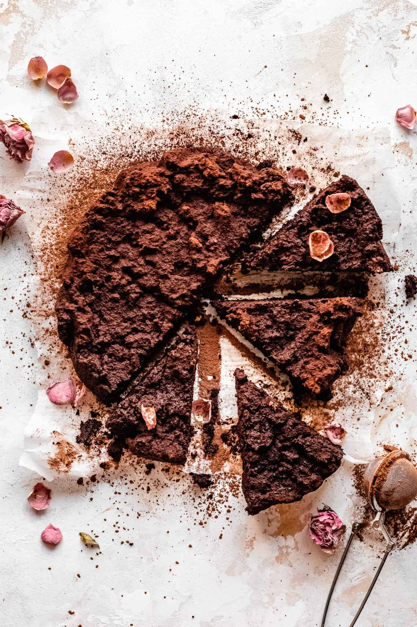 slices of paleo vegan flourless chocolate cake