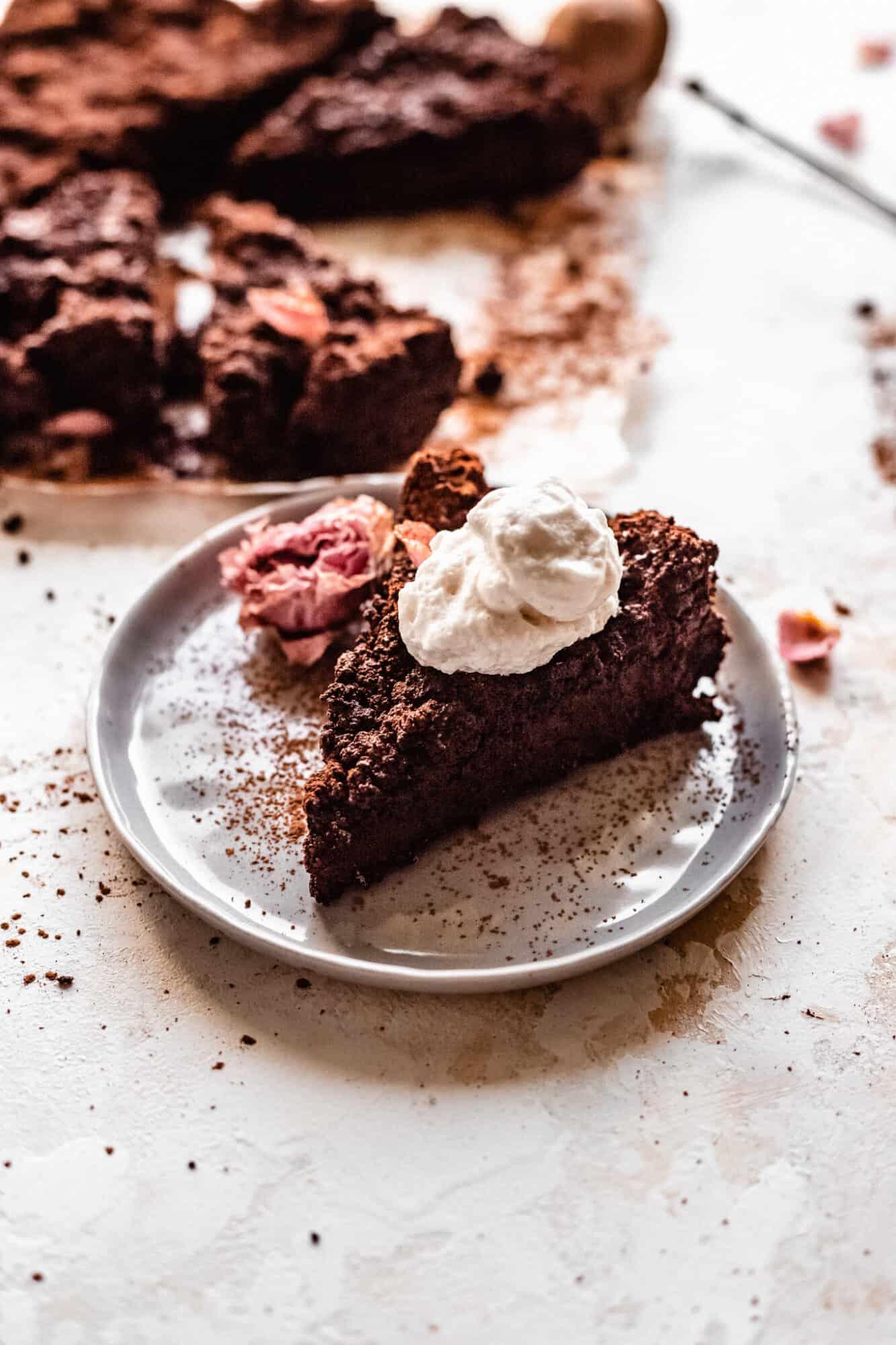slice of paleo vegan chocolate cake
