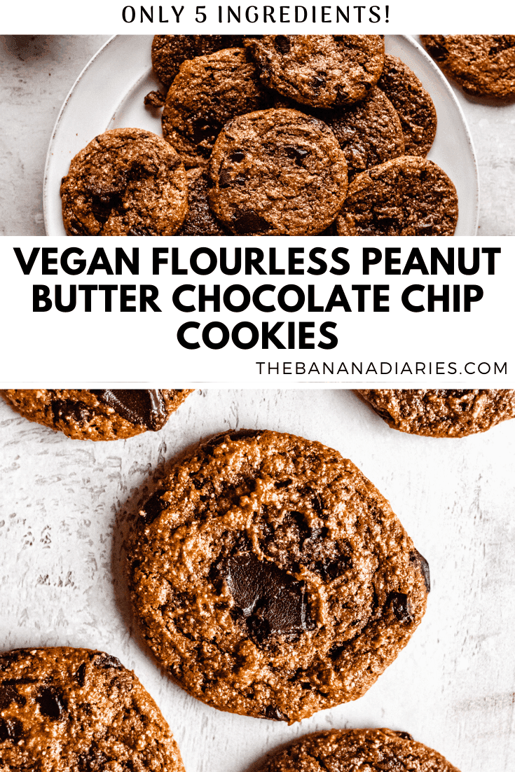 pinterest image for vegan flourless chocolate chip cookies
