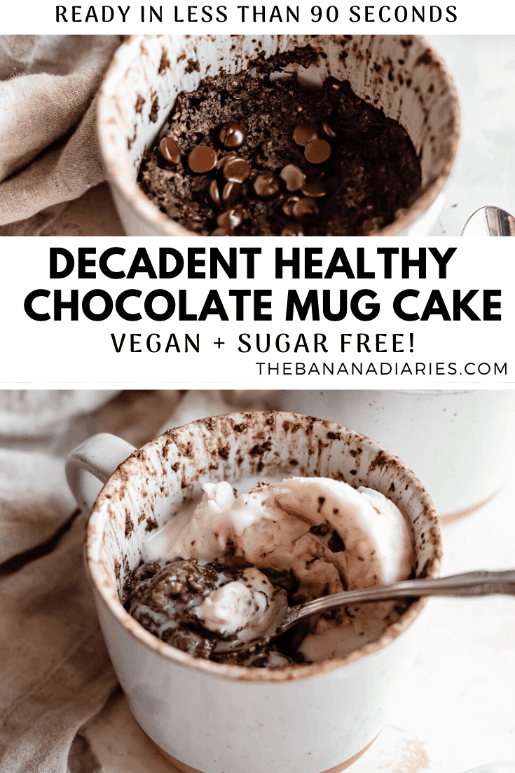 pinterest image for vegan chocolate mug cake