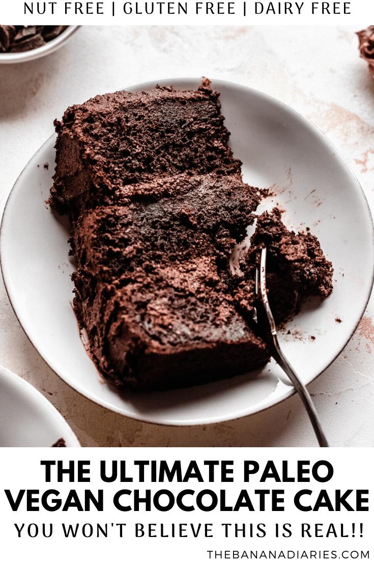pinterest image for paleo vegan chocolate cake