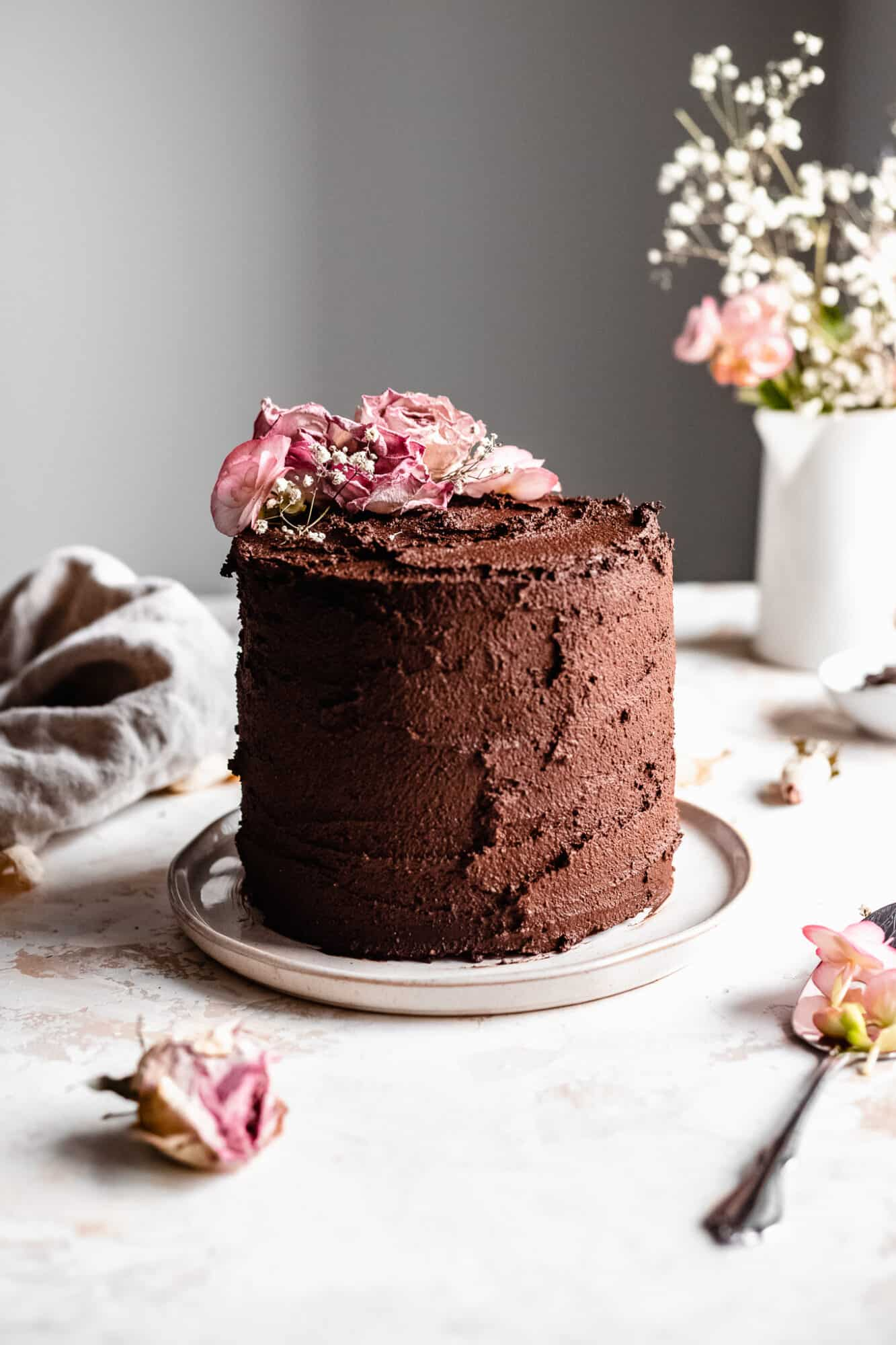 paleo chocolate cake with flowers