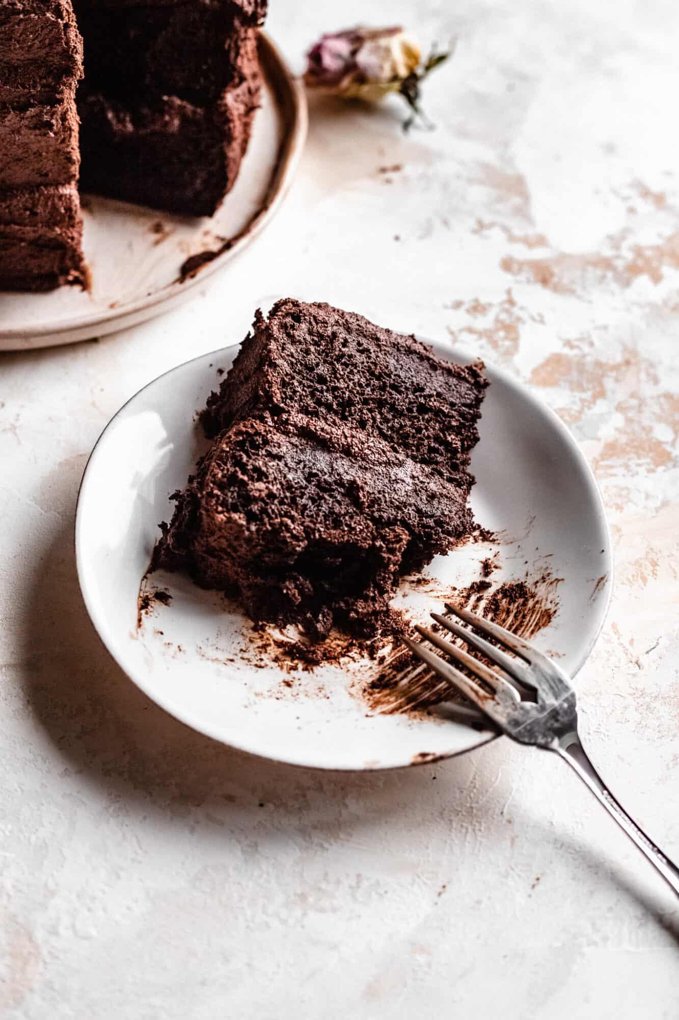 eaten vegan chocolate cake slice