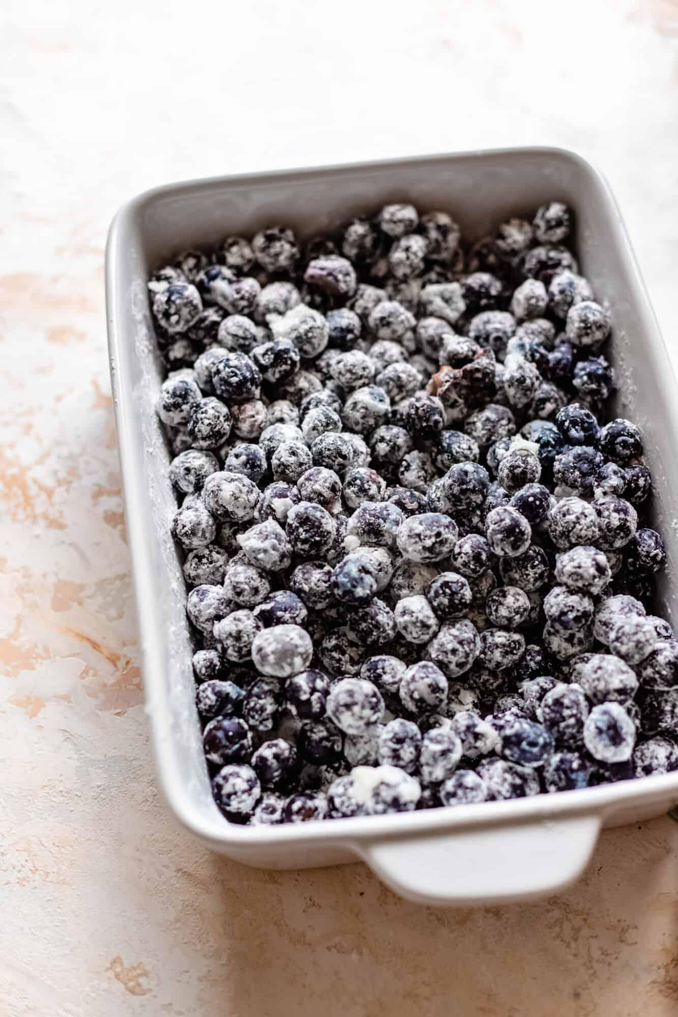 blueberries tossed in arrowroot powder
