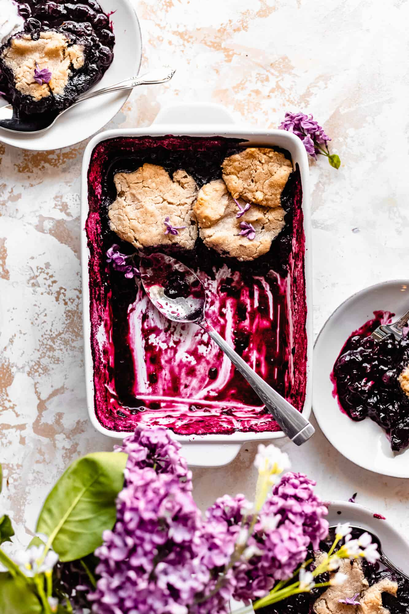 scooped out paleo vegan blueberry cobbler