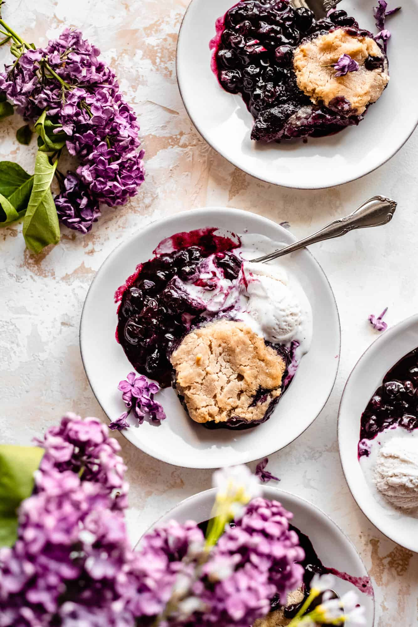 plate of healthy blueberry cobbler