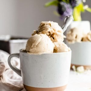 bowl of vegan vanilla ice cream