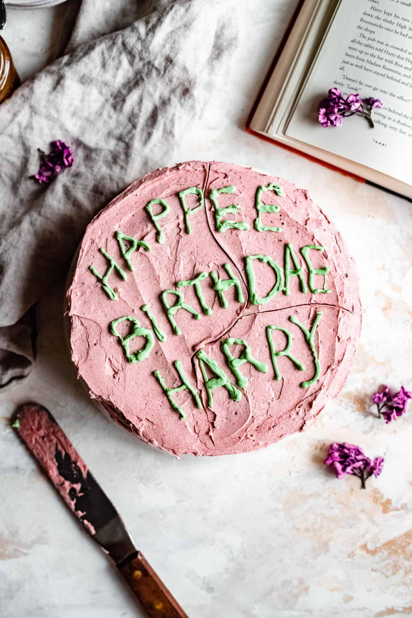 overhead of harry potter vegan birthday cake