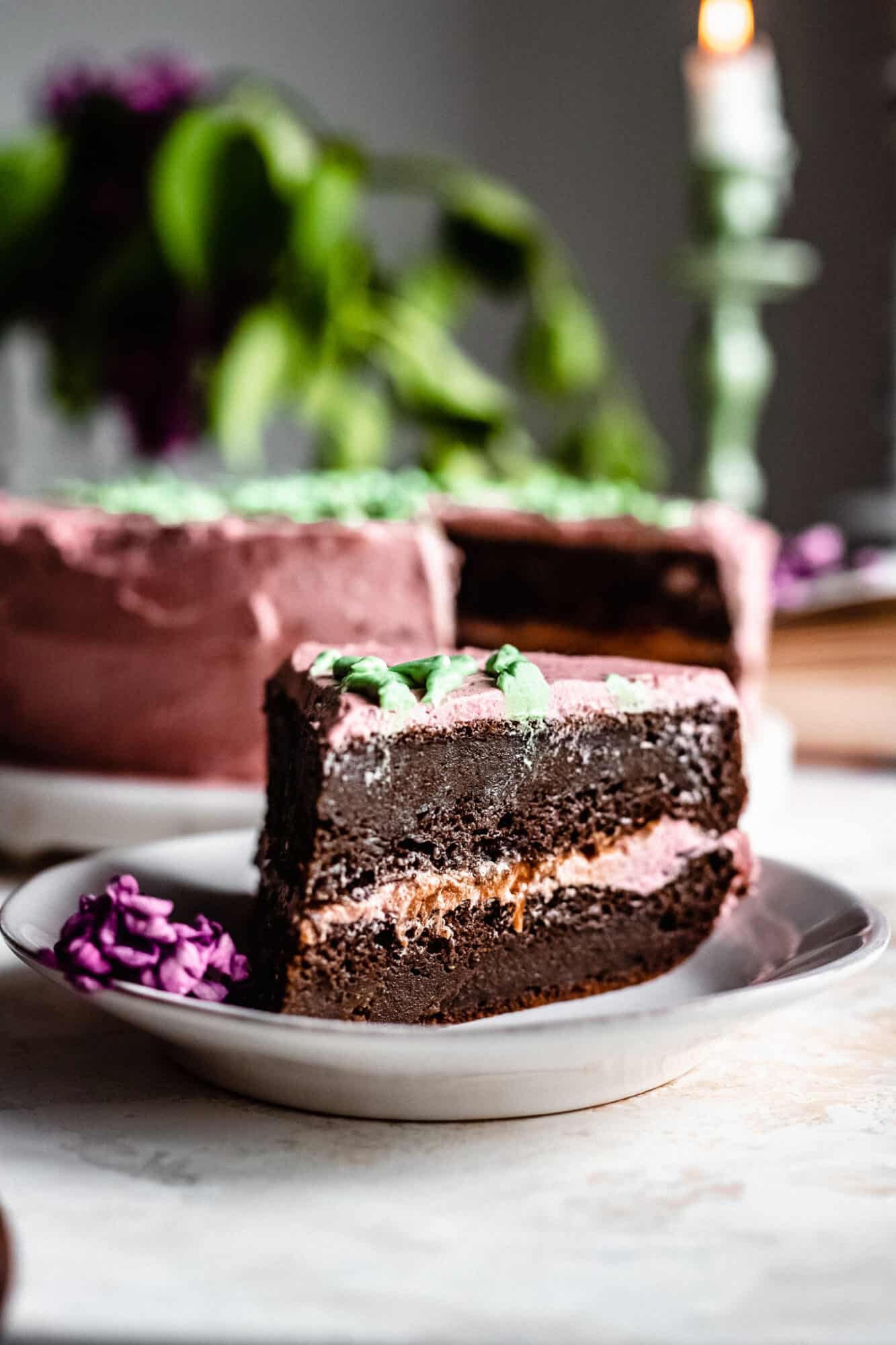 slice of vegan chocolate caramel cake