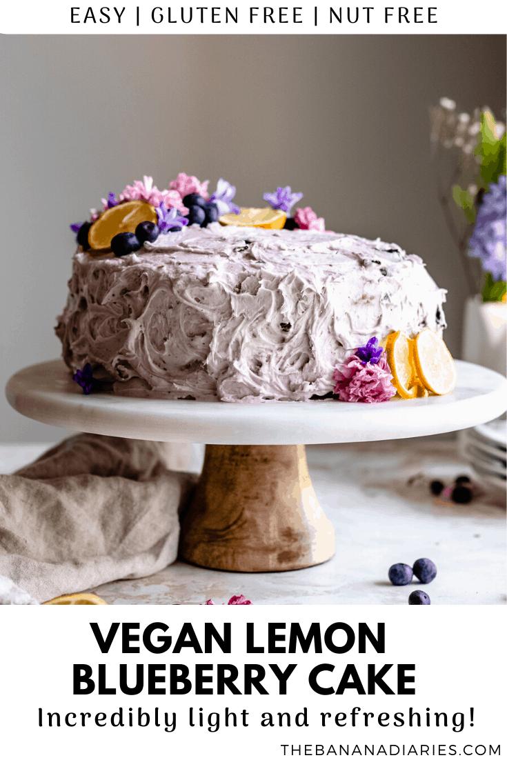 pinterest image for vegan lemon blueberry cake