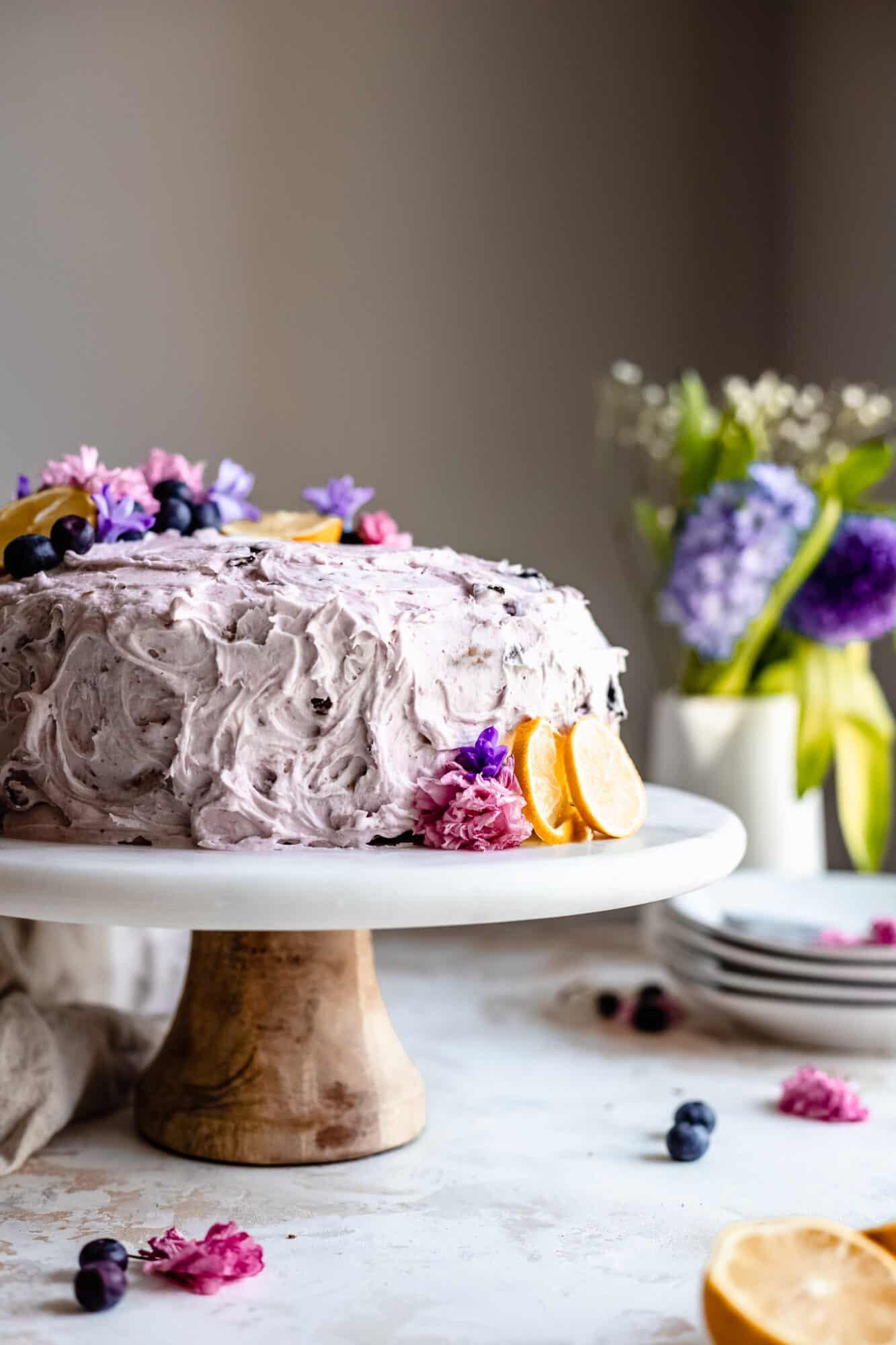 close up of lemon blueberry cake