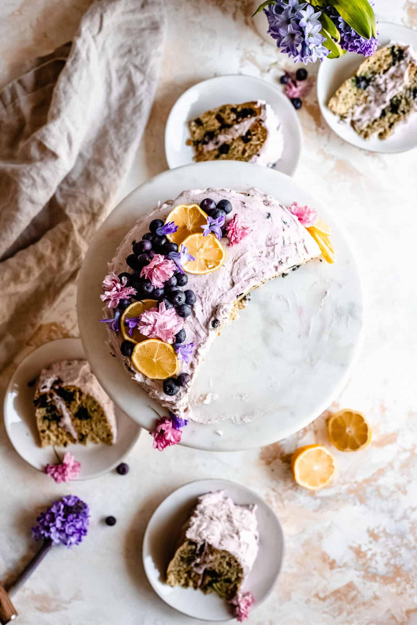 overhead of slices of lemon blueberry cake