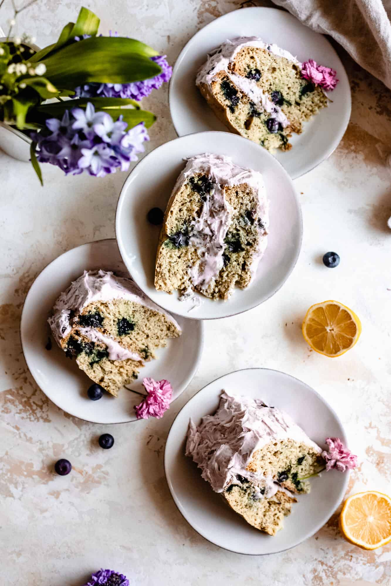slices of vegan lemon blueberry cake
