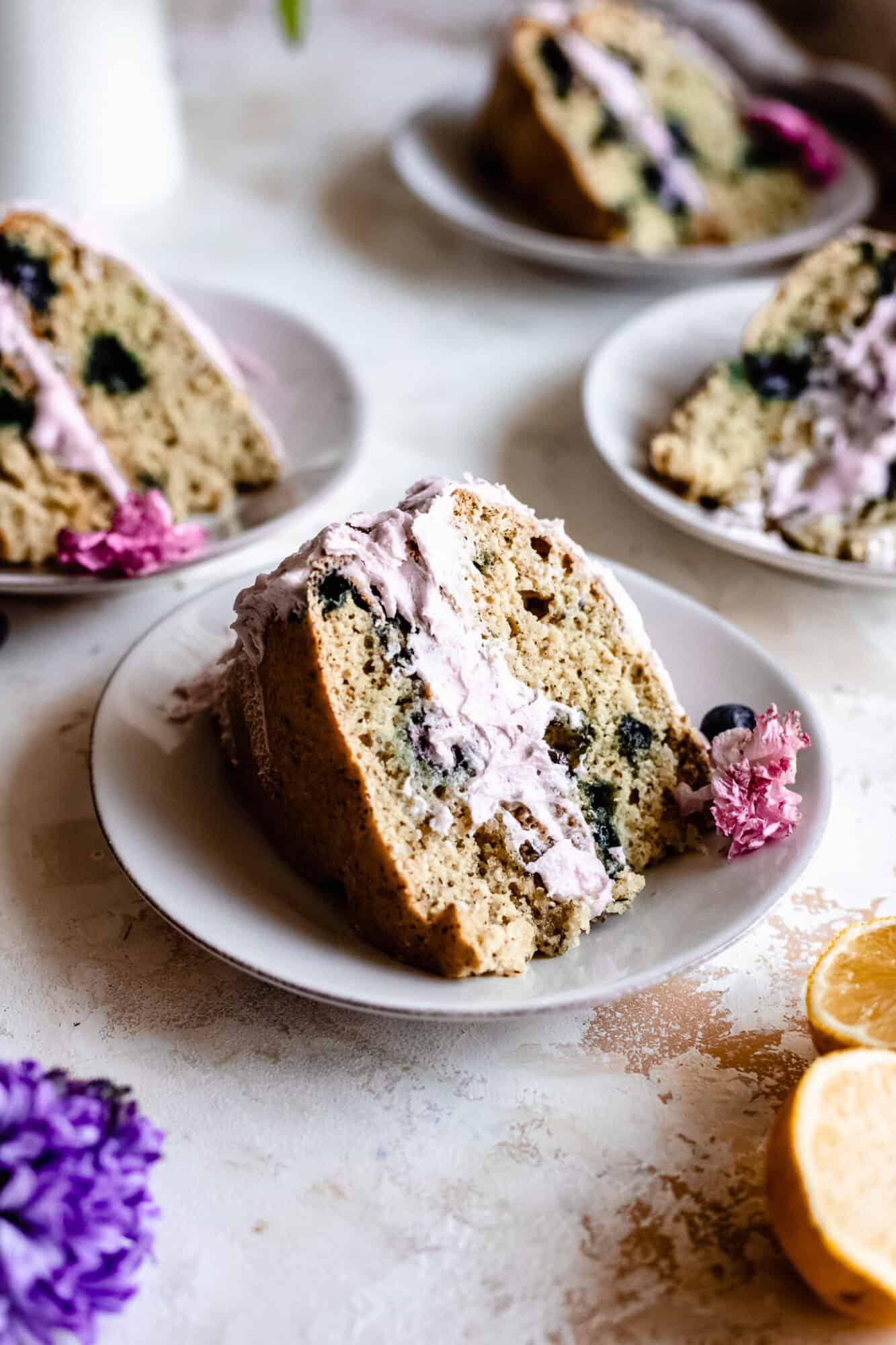 slice of vegan lemon blueberry cake