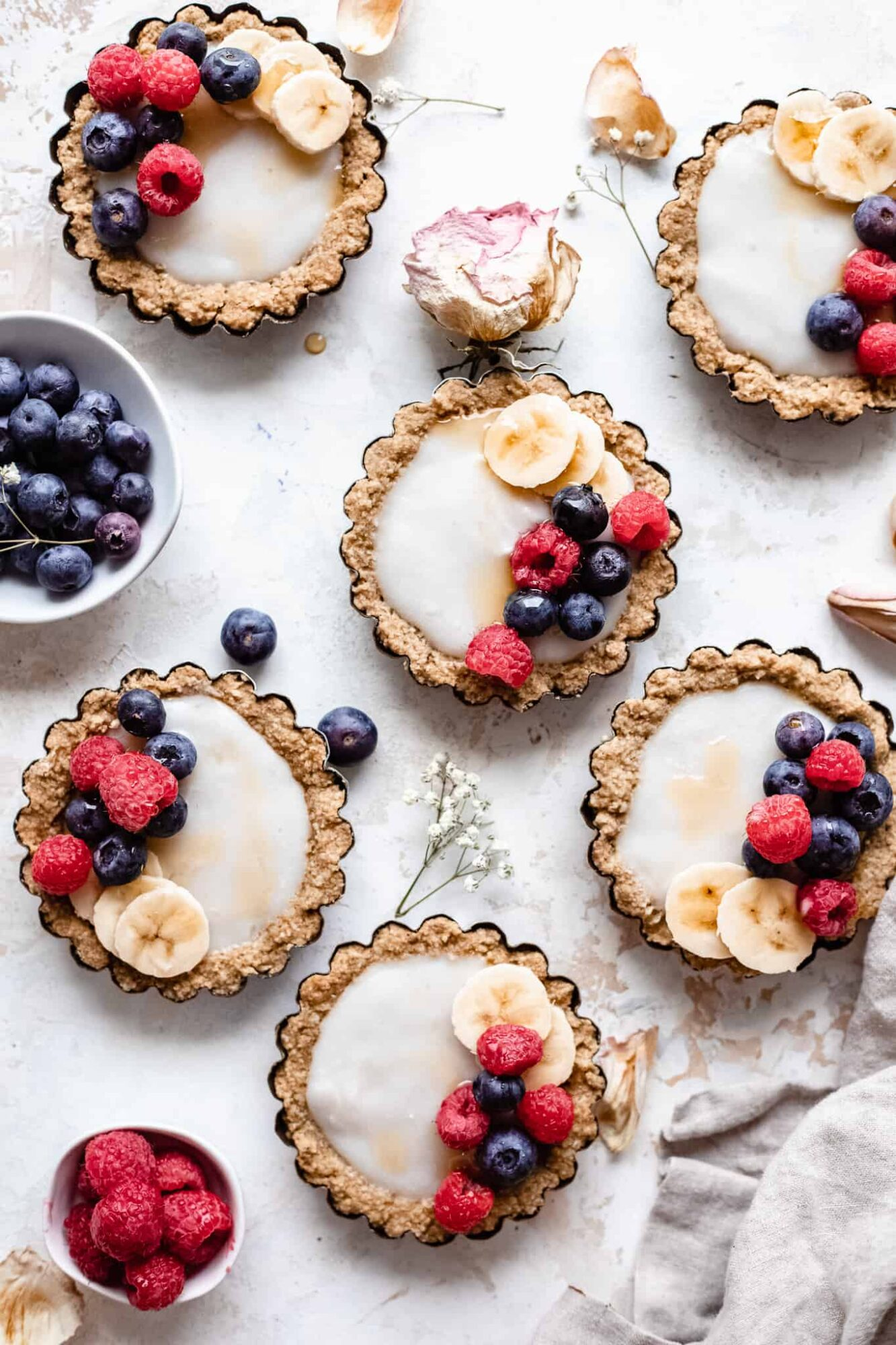 mini tarts on backdrop