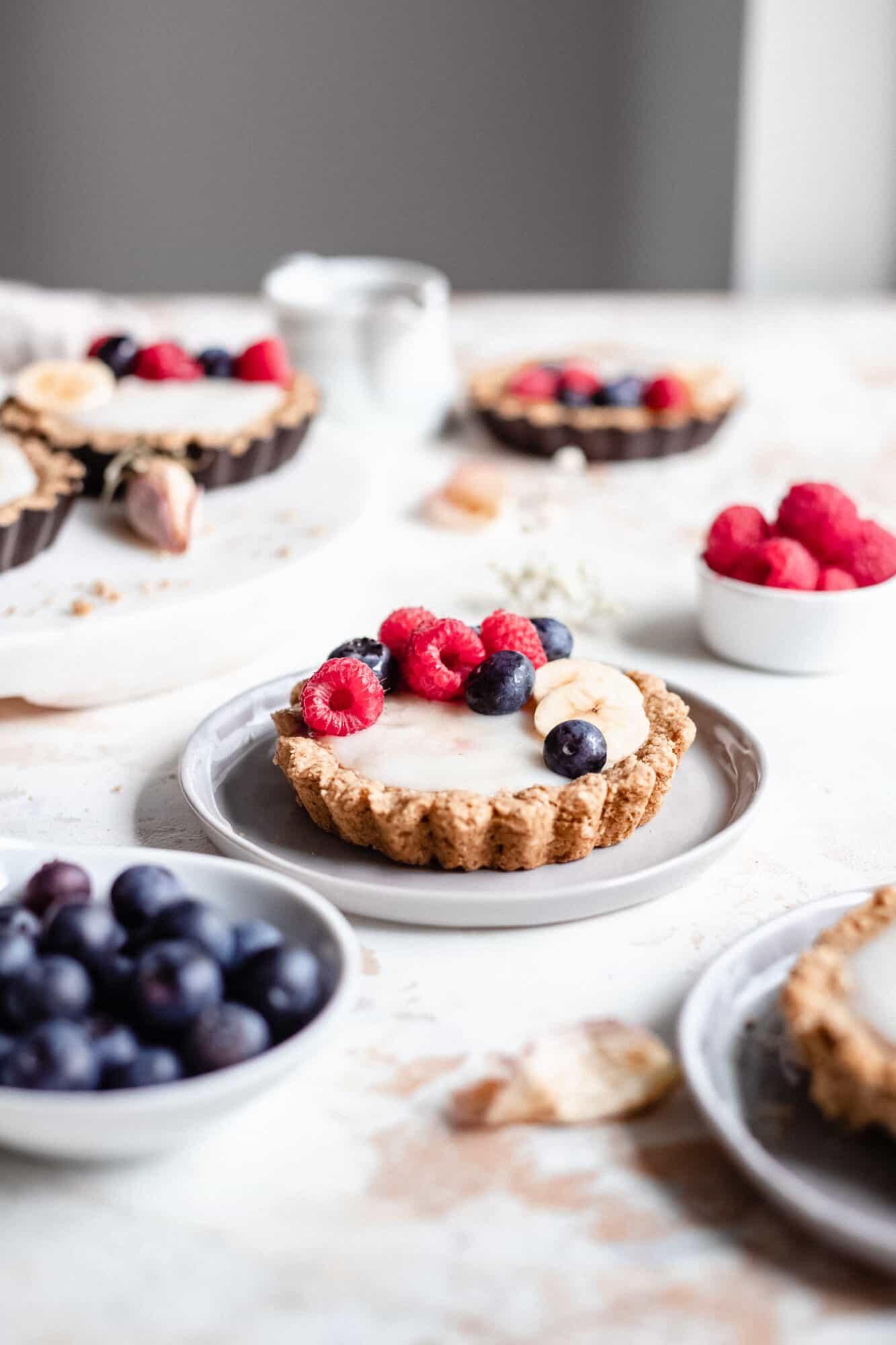 mini fruit tarts on plate