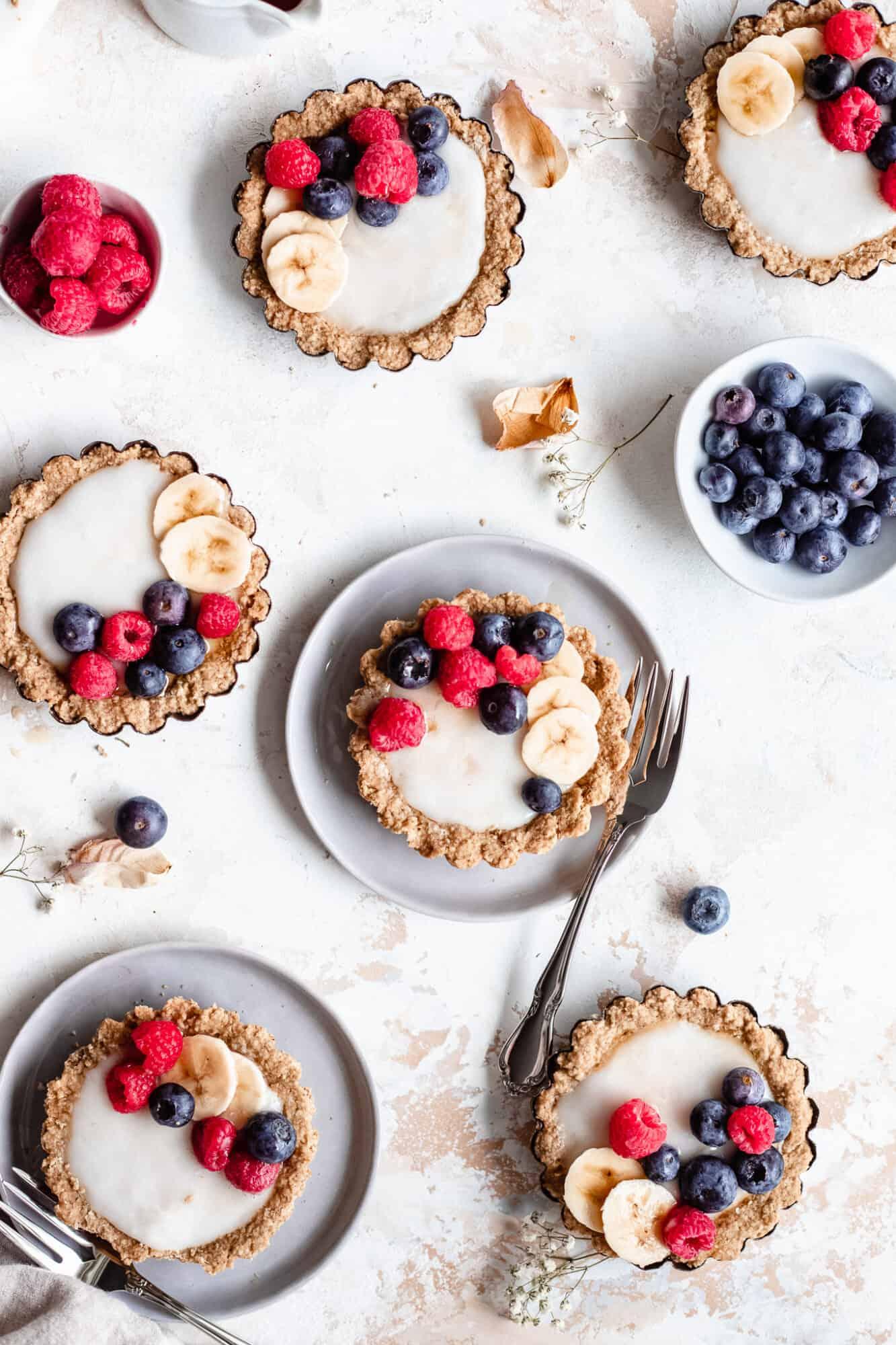 gluten free fruit tarts on plates
