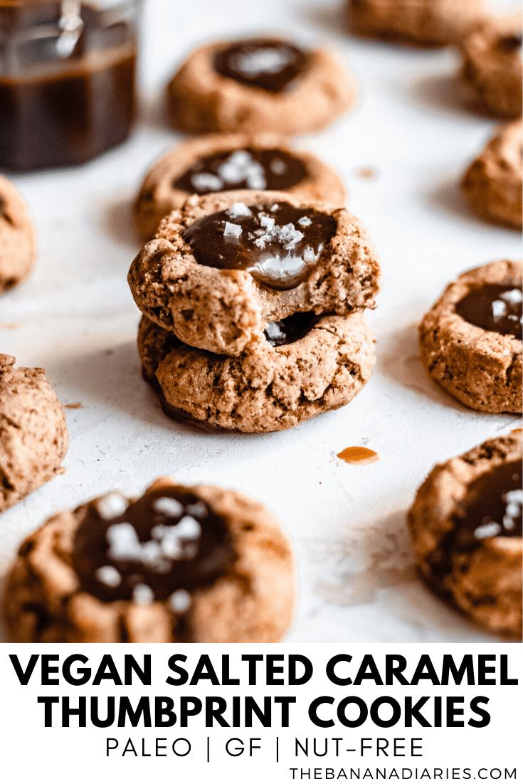 pinterest image for salted caramel vegan thumbprint cookies