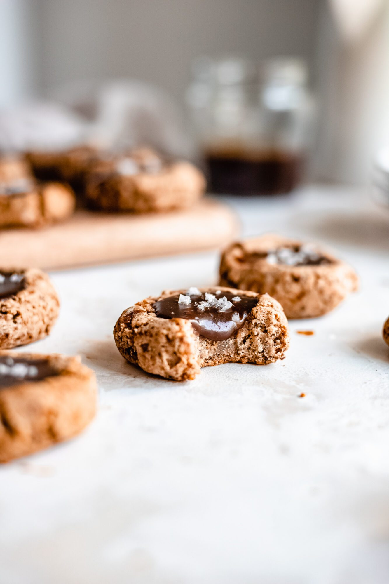 bitten caramel thumbprint cookie