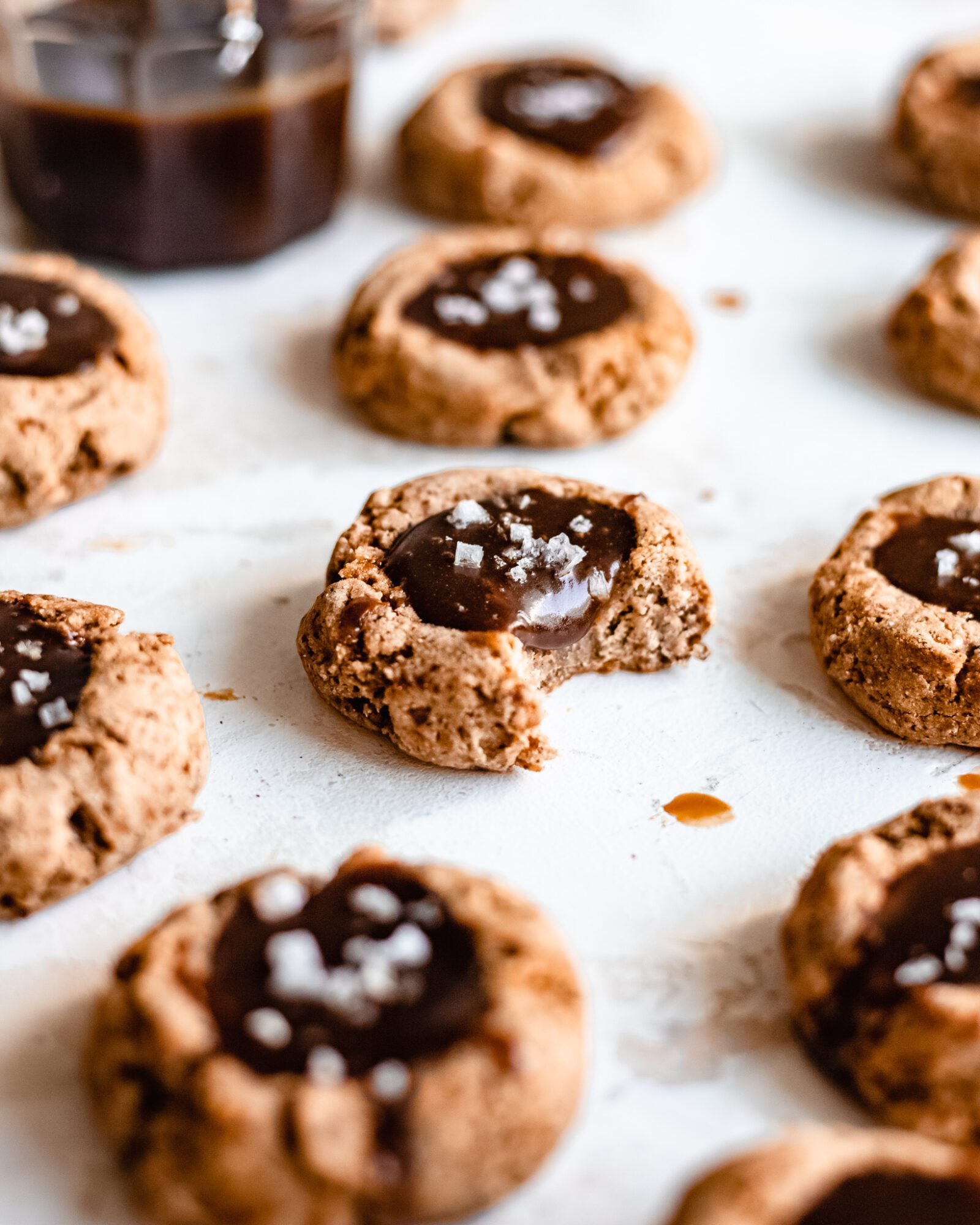 caramel thumbprint cookies on board
