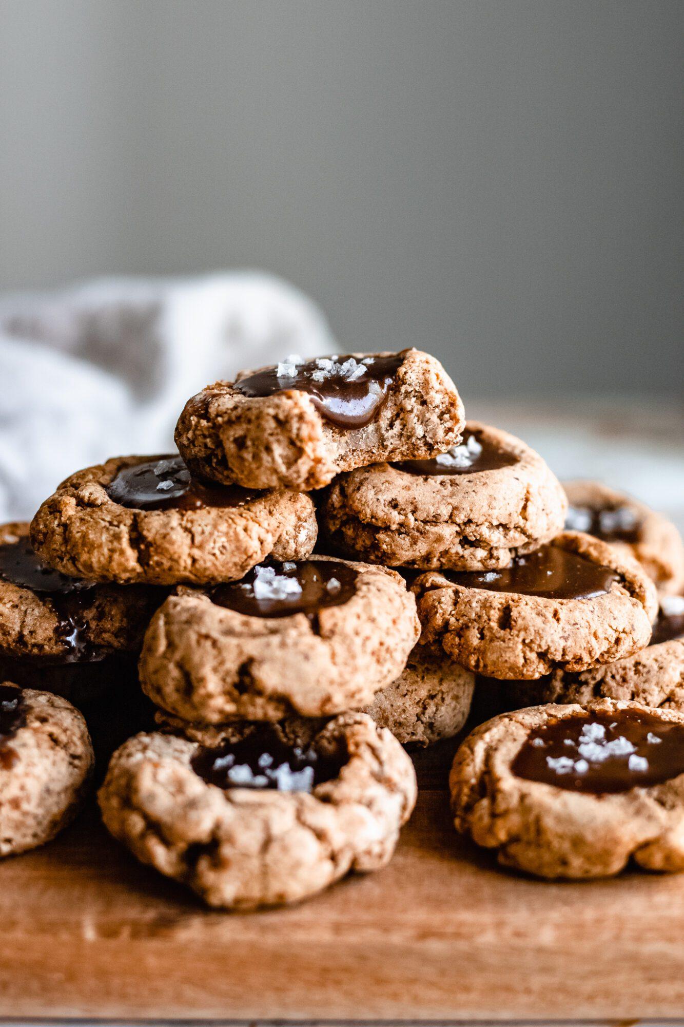 stacked caramel thumbprint cookies