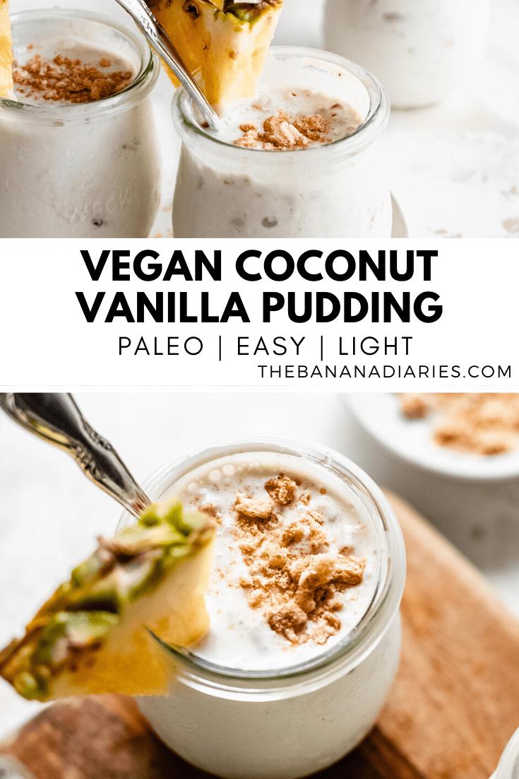 pinterest image for vegan vanilla pudding