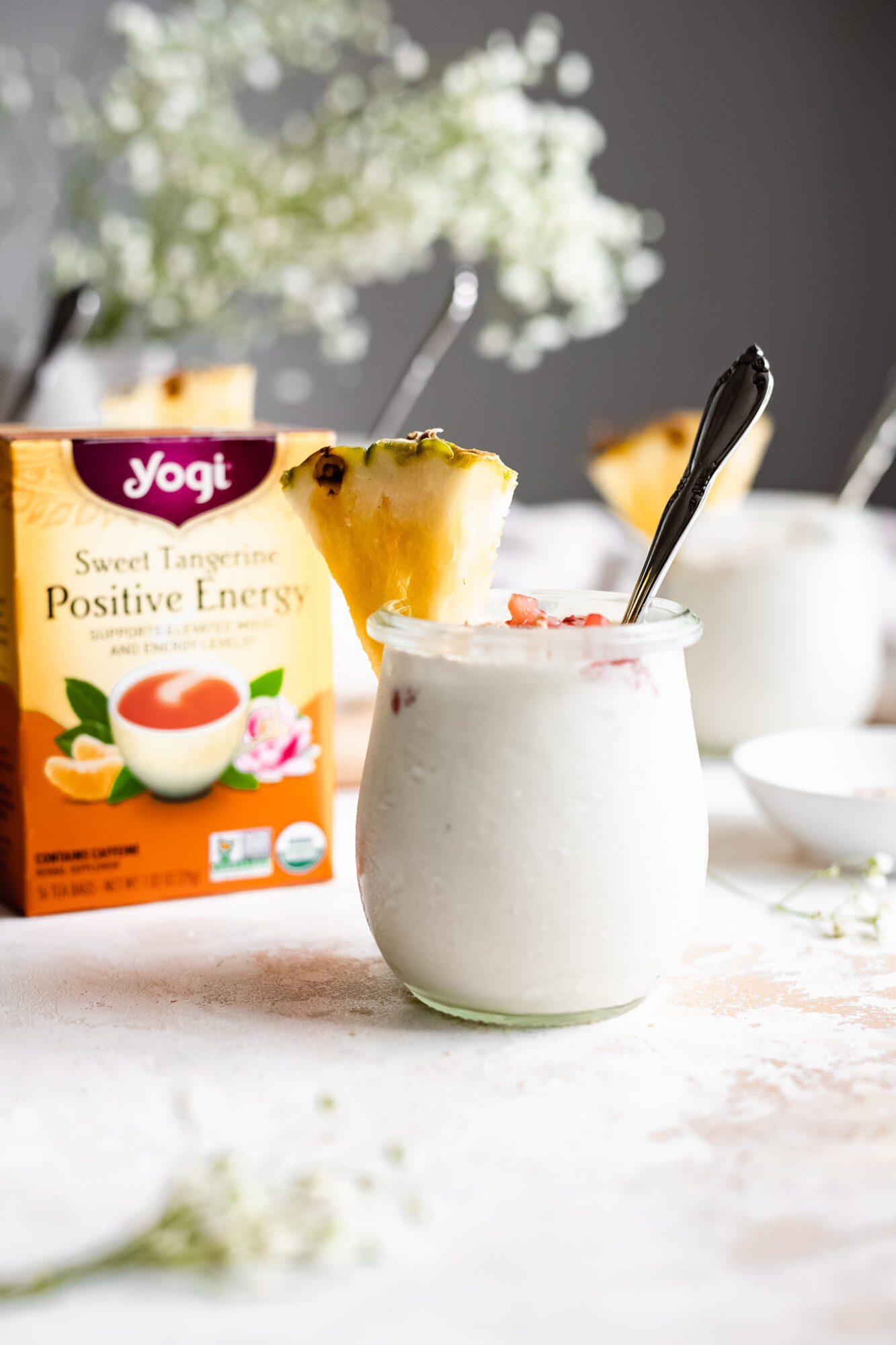 vanilla pudding jar next to yogi tea box