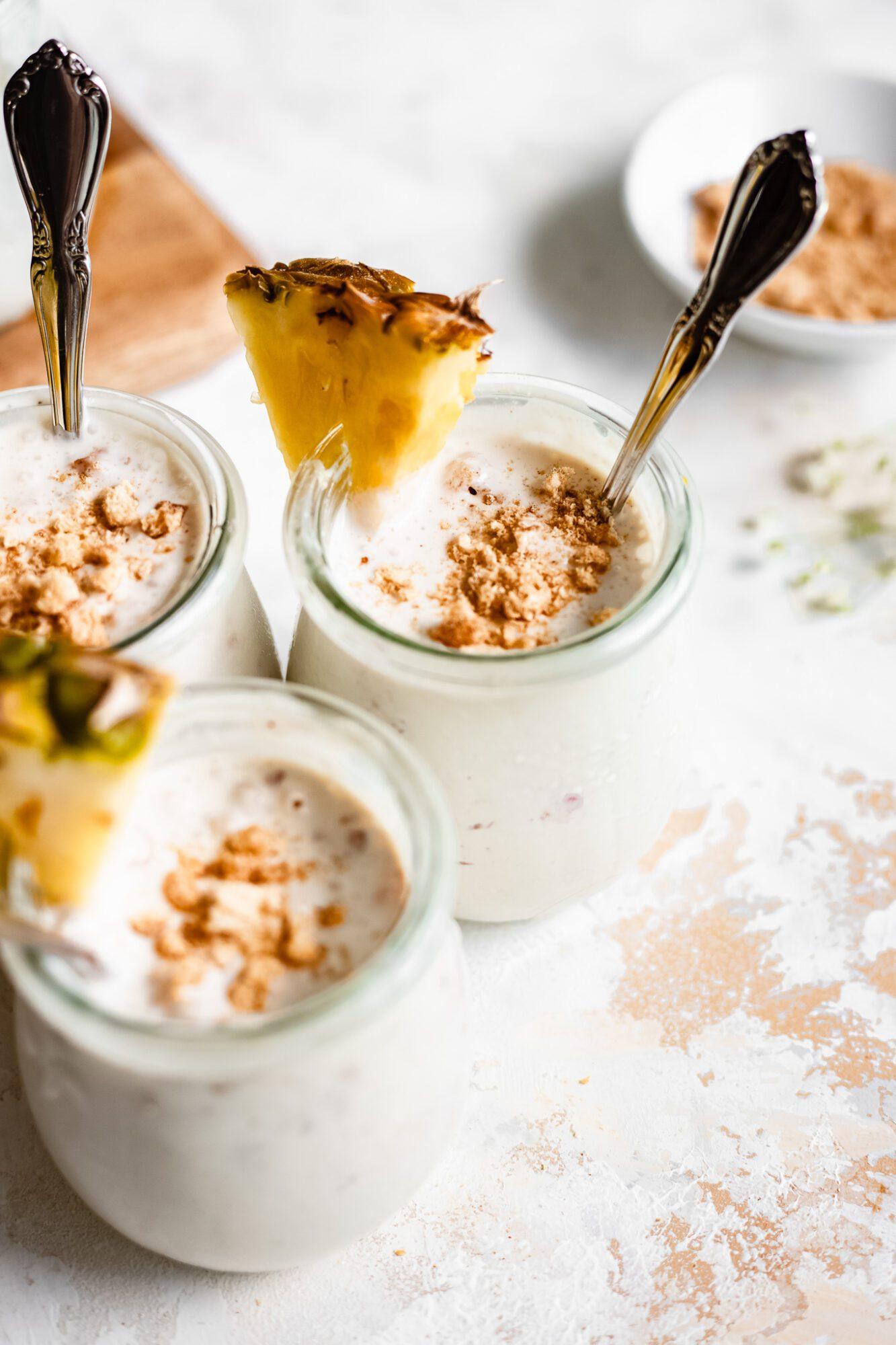 vanilla pudding jars with pineapple