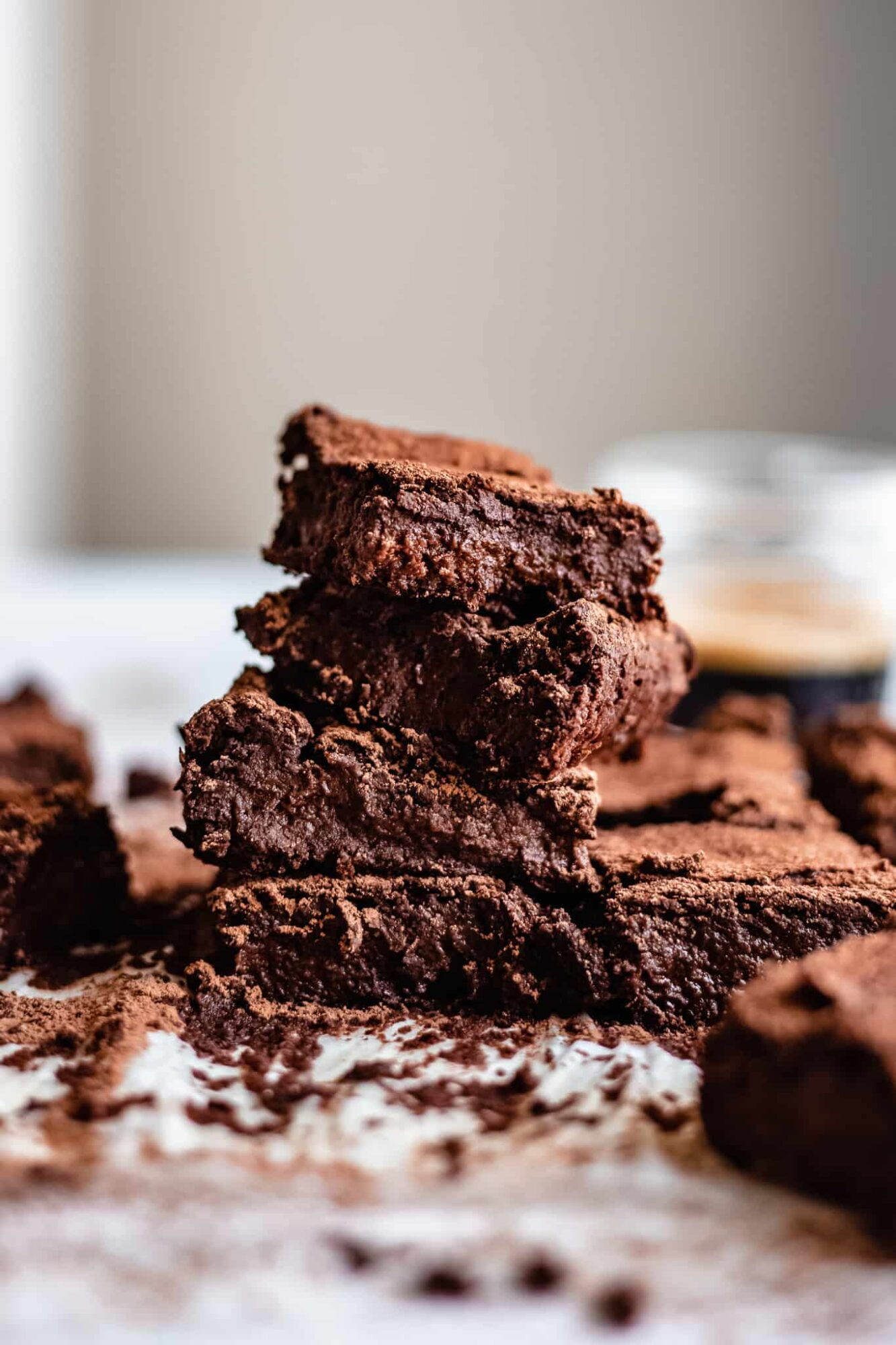 stacked flourless chickpea brownies