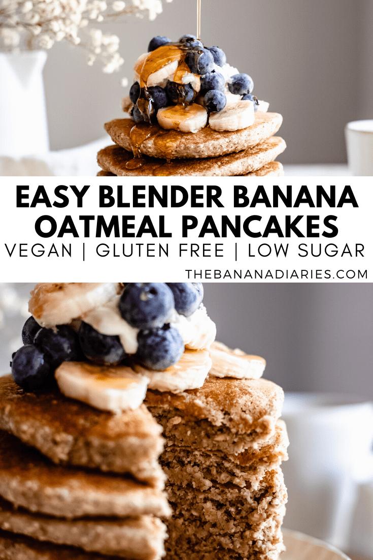 pinterest image for oat flour pancakes