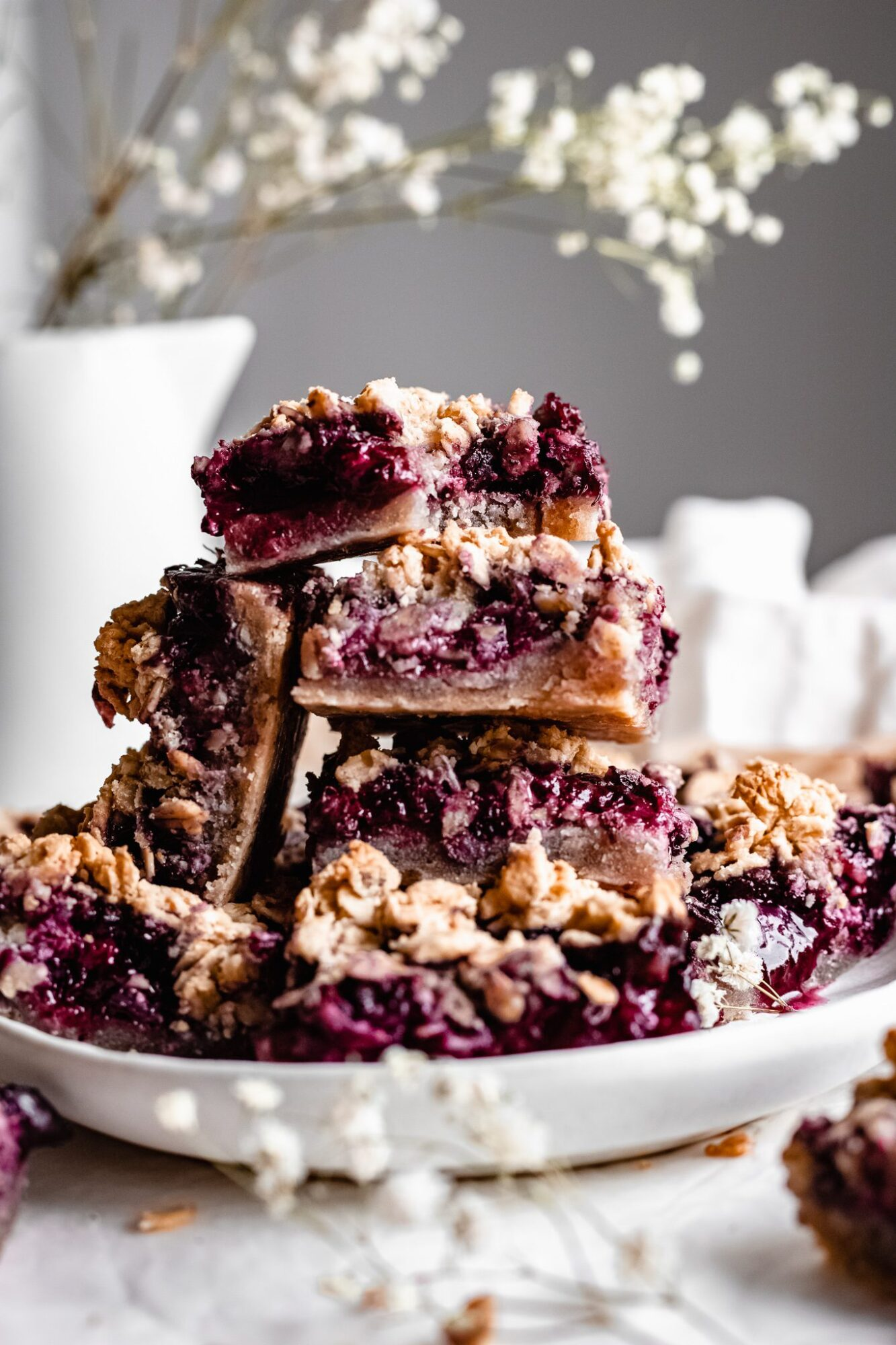 stack of blueberry pie bars