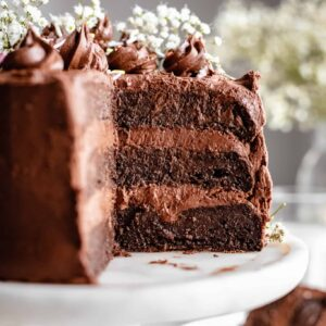 chocolate cake with piping on cake stand