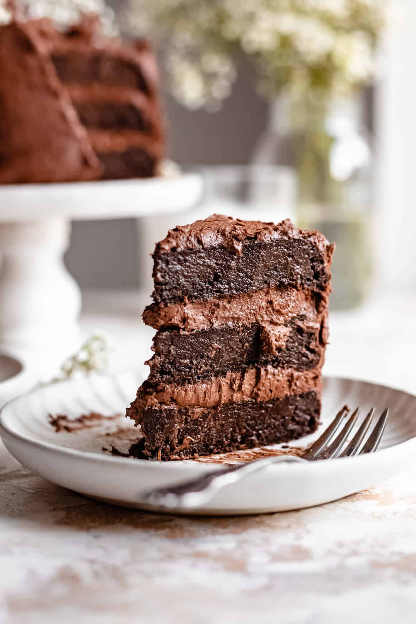 slice of ultra rich chocolate zucchini cake