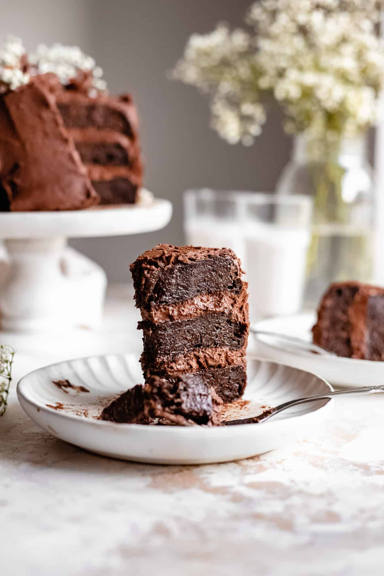 slice of eaten chocolate zucchini cake