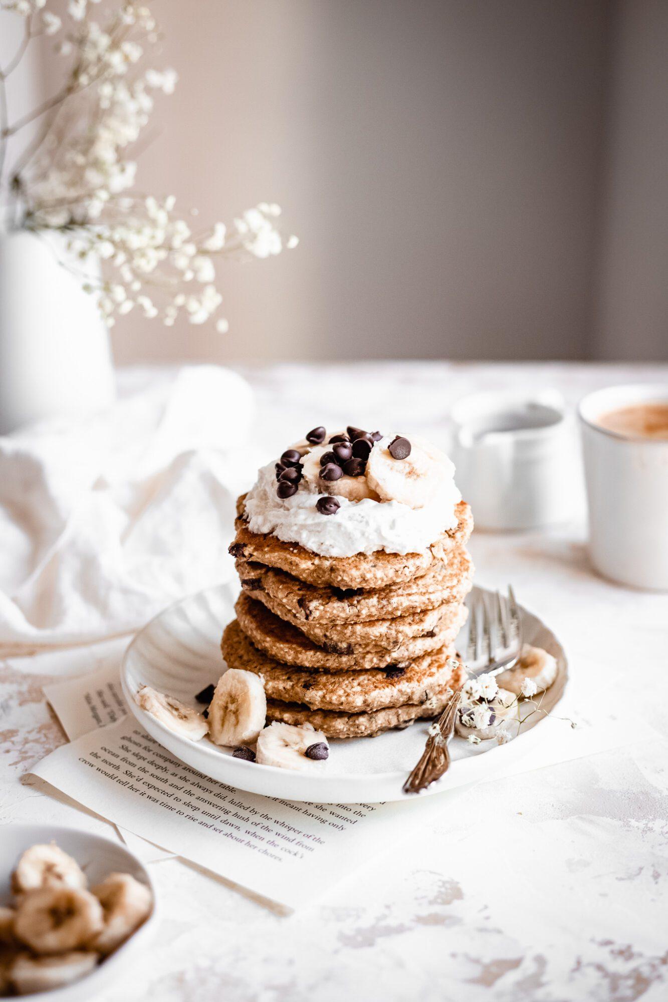 plate of vegan chocolate chip pancakes