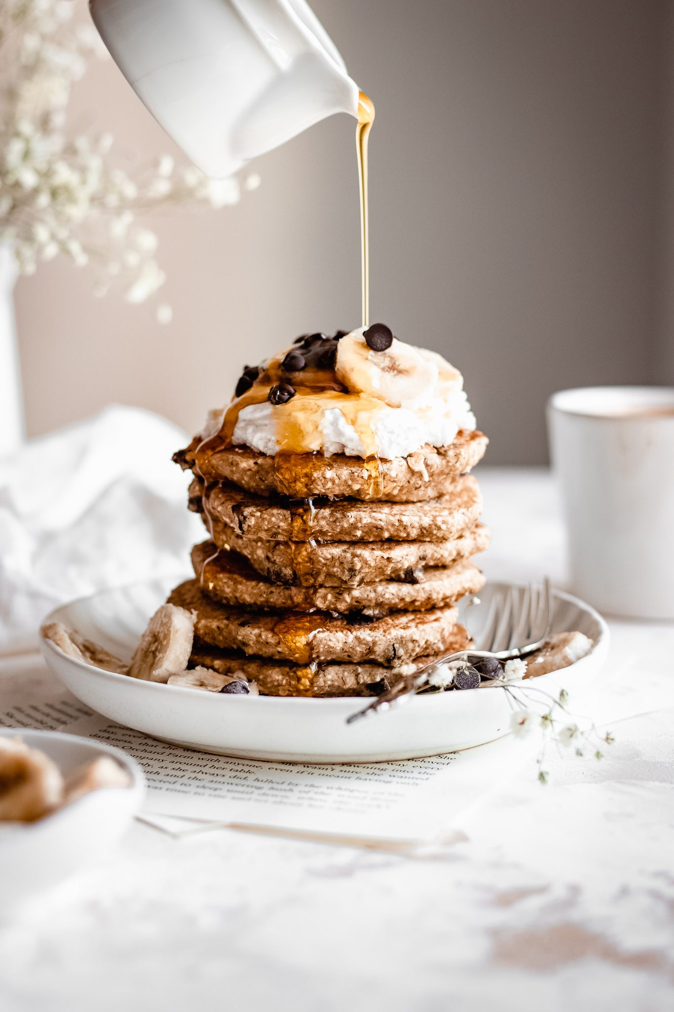 Healthy Vegan Chocolate Chip Pancakes