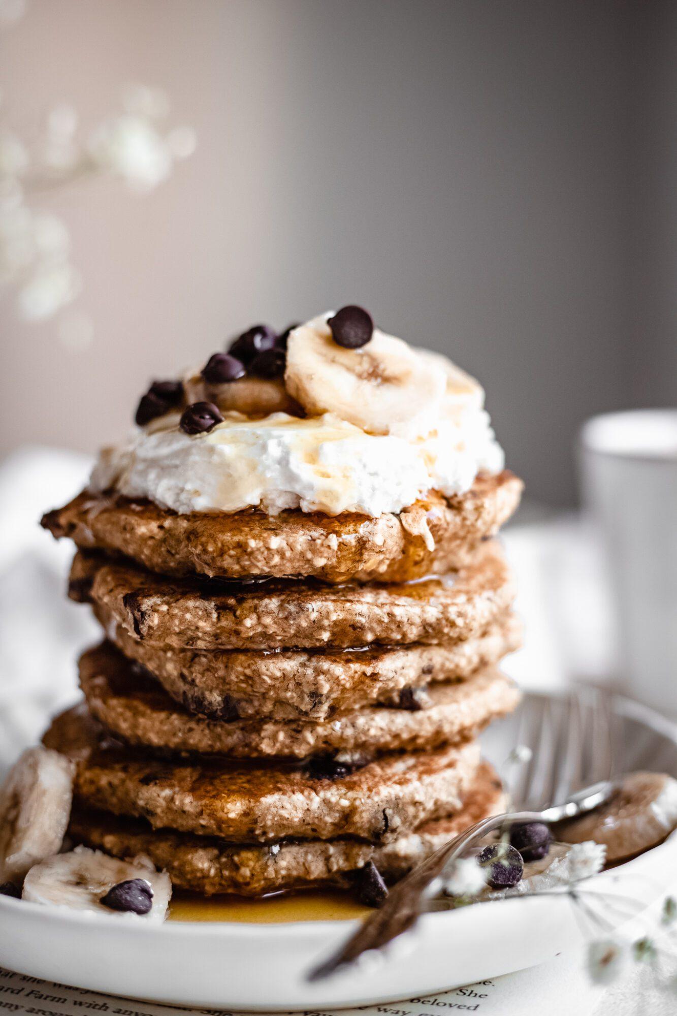 close up of vegan chocolate chip pancakes
