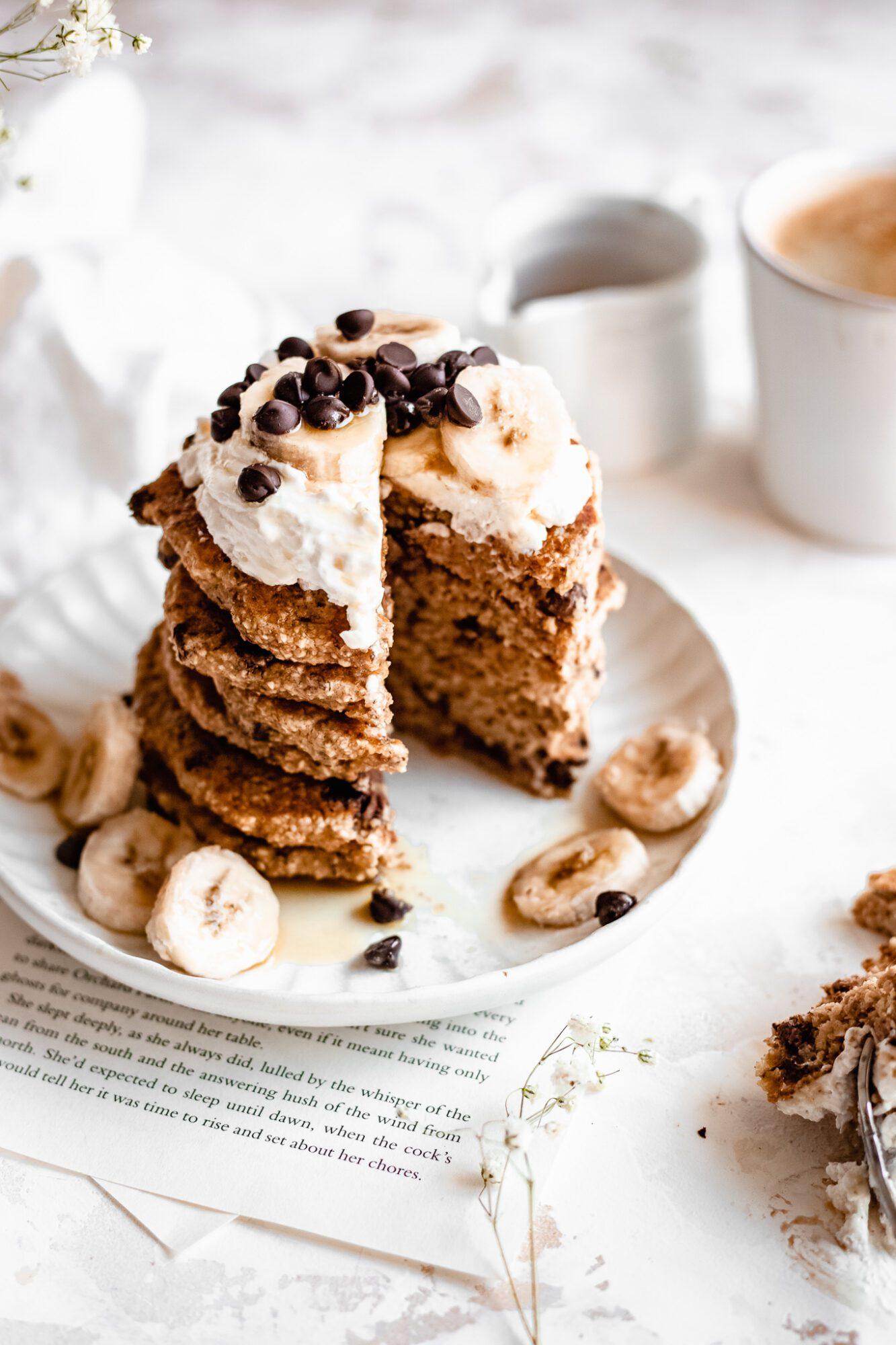 sliced vegan chocolate chip pancakes