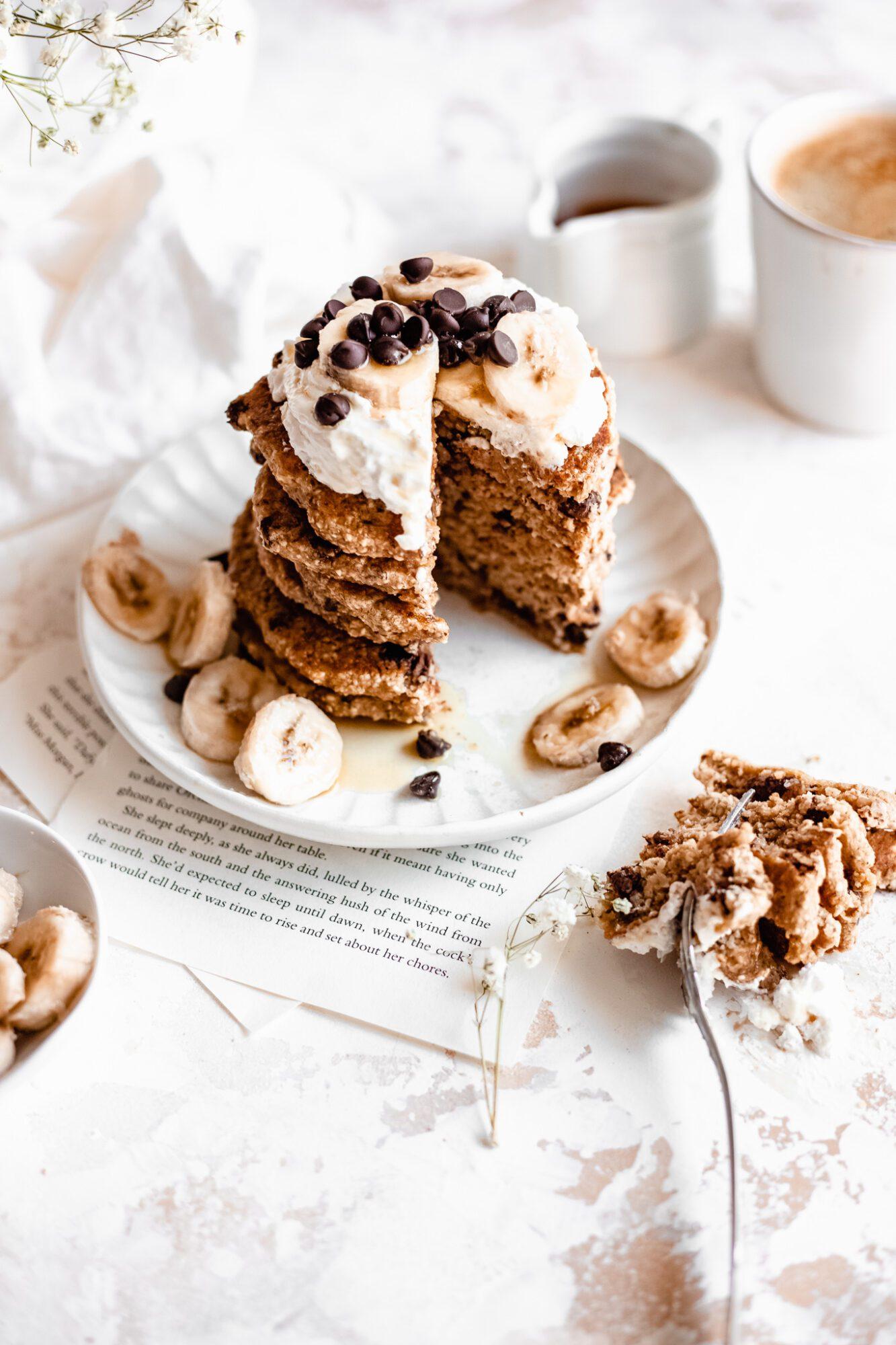 sliced healthy vegan pancakes with bananas on top