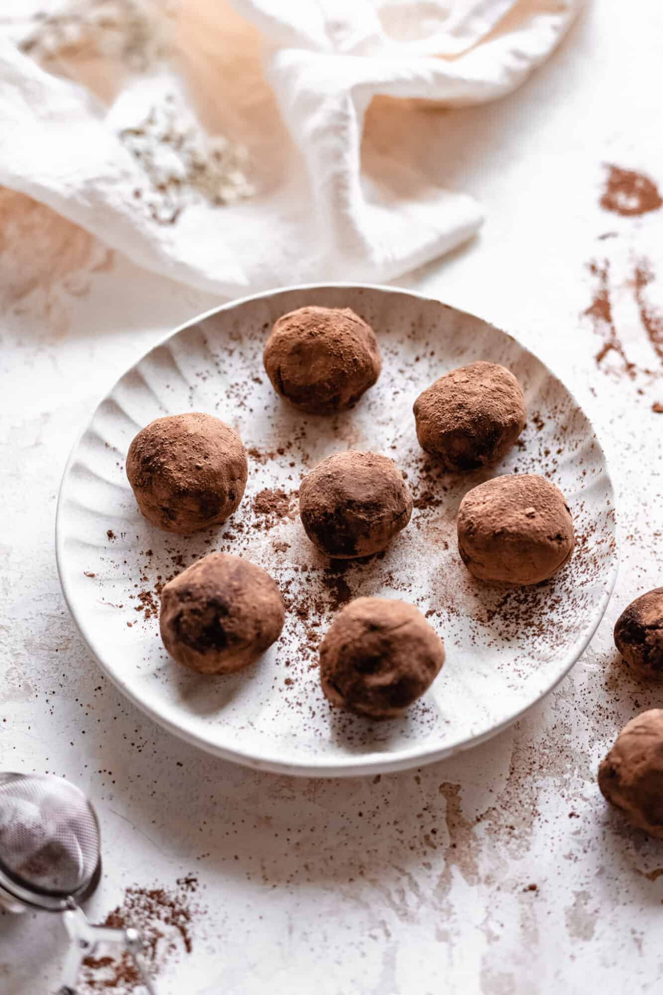 vegan chocolate truffles on plate