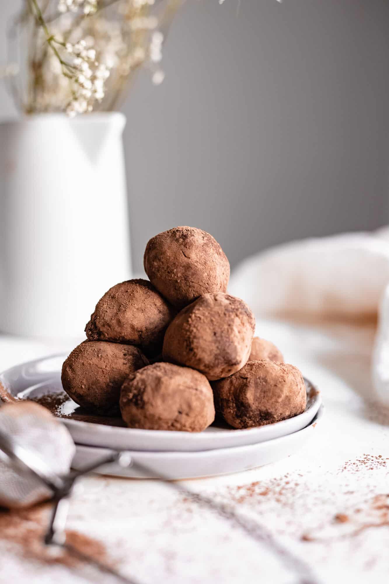stacked vegan truffles