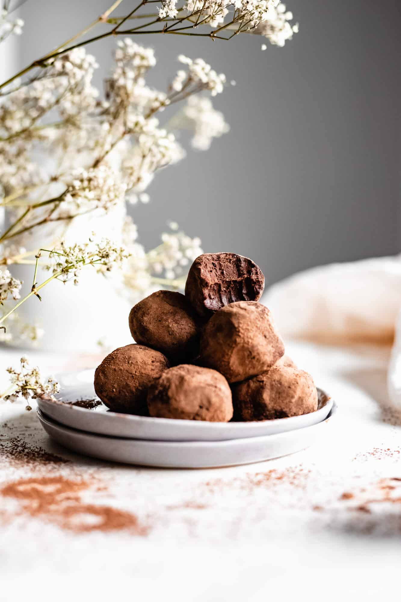 stacked healthy chocolate truffles