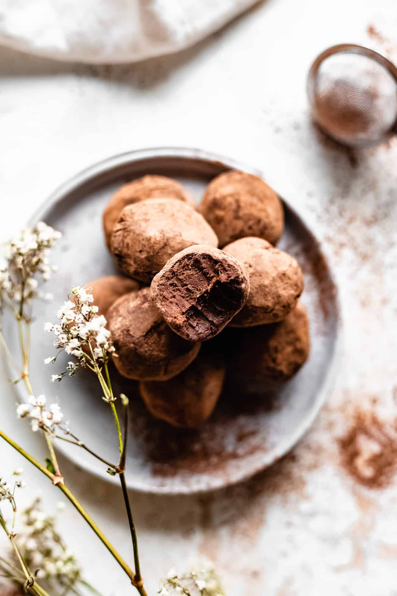 vegan truffles with bite taken out of it