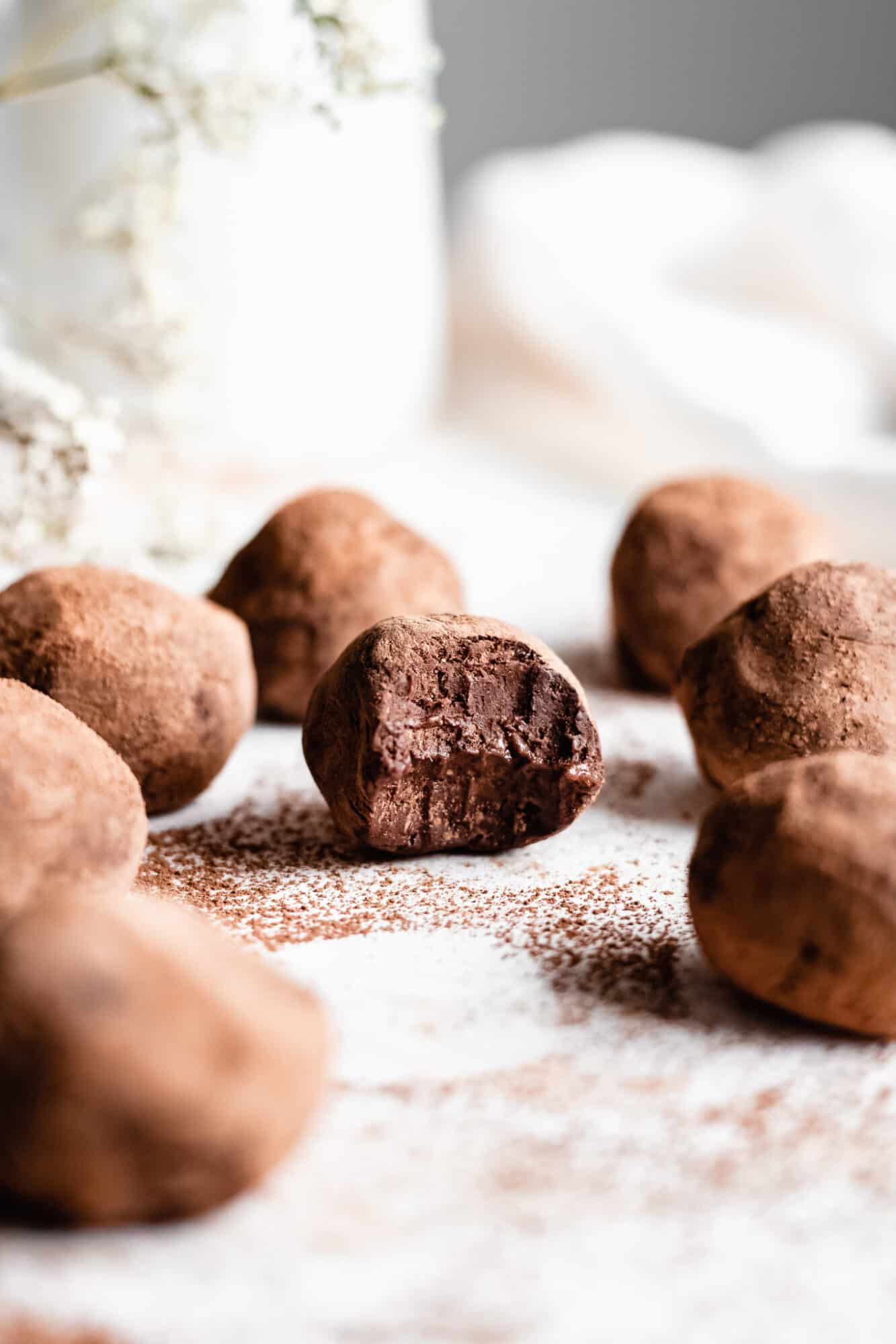 vegan chocolate truffles on wooden board